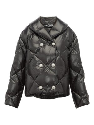 Balmain glossy quilted down shell jacket