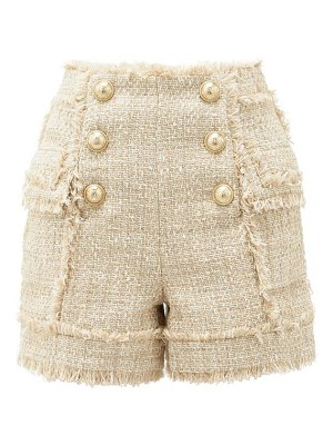 Balmain high-rise cotton-blend tweed shorts