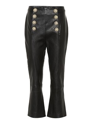 Balmain high-rise cropped leather pants
