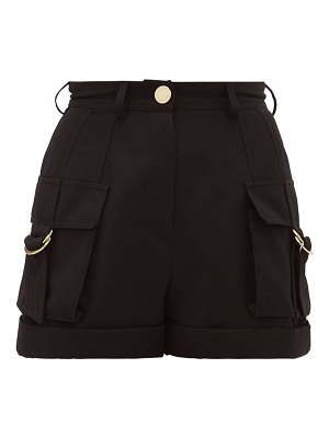 Balmain high-rise wool cargo shorts