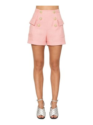 Balmain High waist buttoned mini shorts