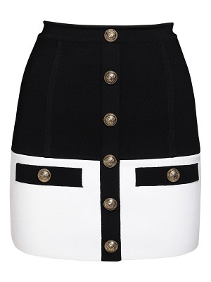 Balmain High waist knit mini skirt w/ buttons