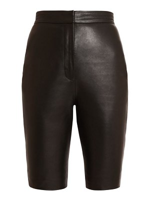 Balmain high waist leather cycling shorts