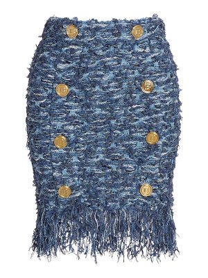 Balmain high-waisted button-detail fringed tweed skirt