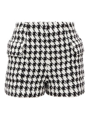 Balmain houndstooth cotton-blend tweed shorts