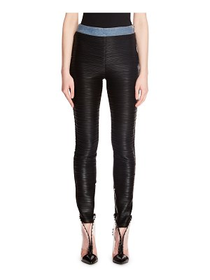 Balmain Jersey Plisse on Denim Legging Pants