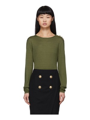 Balmain khaki 4-button long sleeve t-shirt