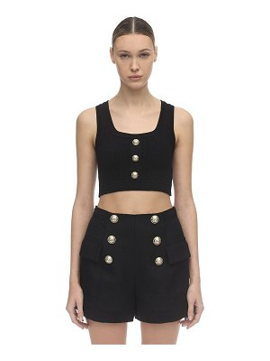 Balmain Knit crop top w/ gold buttons
