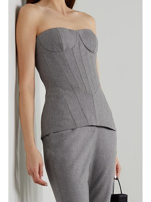 Balmain lace-up wool-blend flannel bustier top