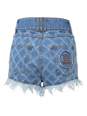 Balmain Laser grid cotton denim shorts