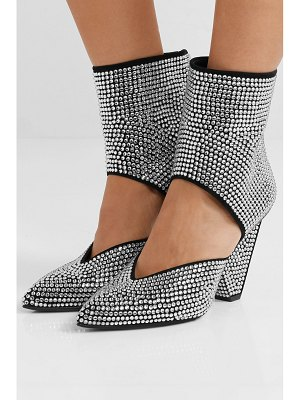Balmain livy cutout crystal-embellished leather ankle boots