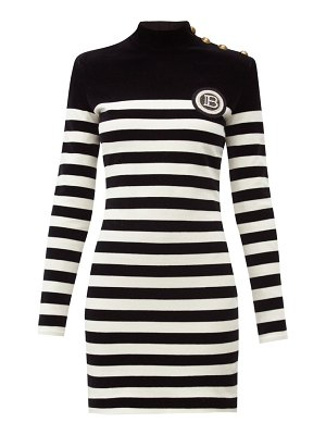 Balmain logo-appliqué striped velvet mini dress
