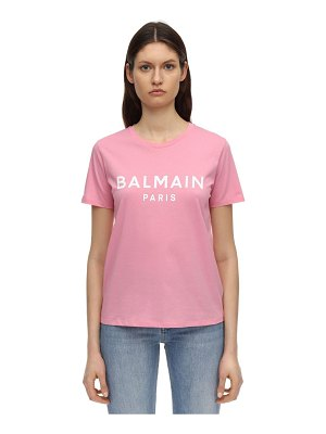 Balmain Logo flocked cotton jersey t-shirt