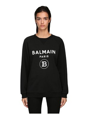 Balmain Logo flocked cotton sweatshirt