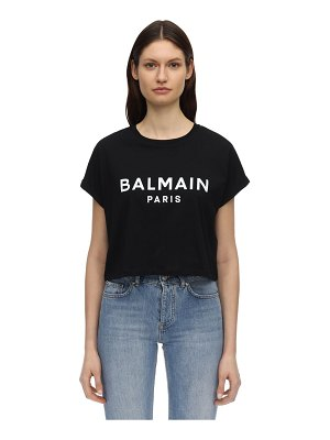 Balmain Logo print cotton jersey cropped t-shirt