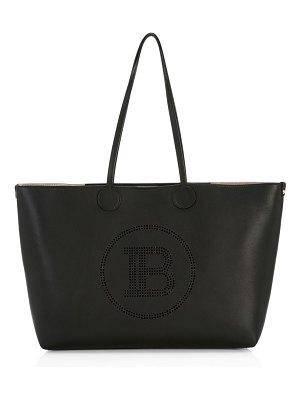 Balmain medium logo leather tote