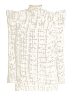 Balmain monogram winged shoulder cutout top