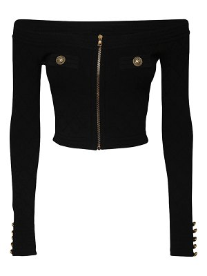 Balmain Off-the-shoulder knit zip top