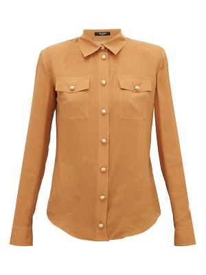 Balmain padded-shoulder silk crepe de chine shirt