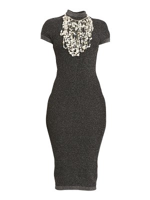 Balmain pearl embroidered knit midi dress