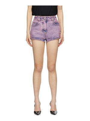 Balmain pink denim acid wash shorts