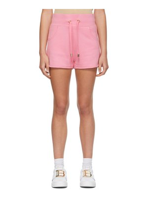 Balmain pink embossed monogram shorts