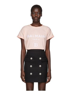 Balmain pink flocked logo t-shirt