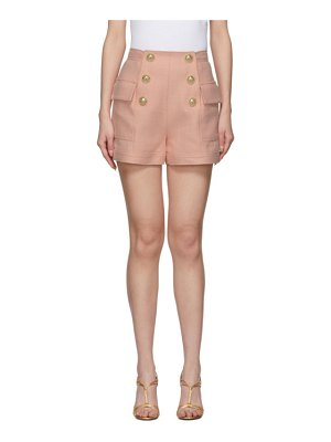 Balmain pink high-waist 6-button shorts