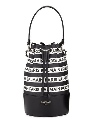 Balmain Polygon Logo Stripe Leather Bucket Bag