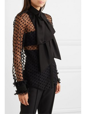 Balmain pussy-bow embellished flocked tulle and crepe blouse
