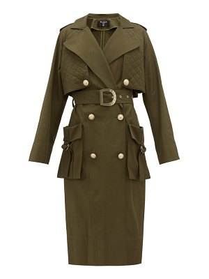 Balmain quilted-panel cotton-twill trench coat