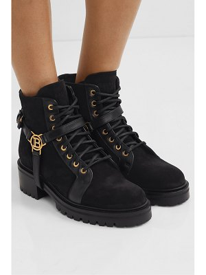Balmain ranger leather-trimmed suede ankle boots