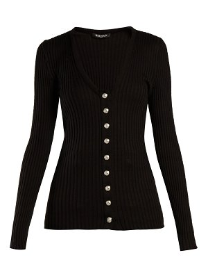 Balmain Ribbed-knit cotton cardigan