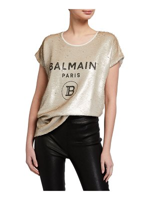 Balmain Sequined Logo Tee
