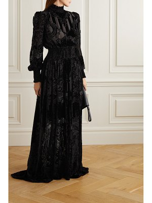Balmain shirred devoré-chiffon gown