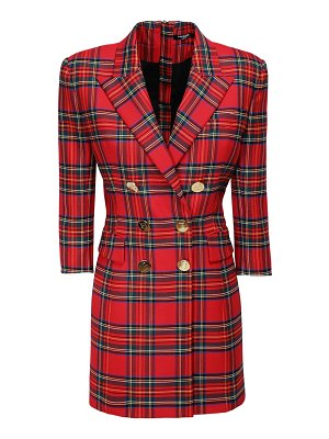 Balmain Stretch tartan mini jacket dress