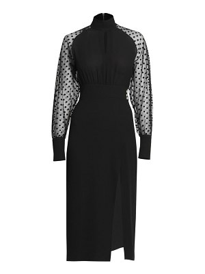 Balmain swiss dot silk slit midi dress