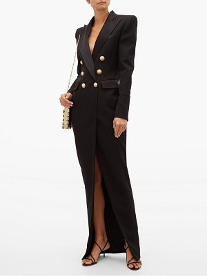 Balmain tailored slit front wool crepe gown