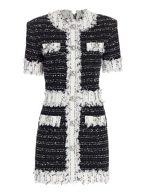 Balmain tweed fringe long-sleeve mini dress