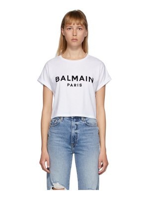 Balmain white logo cropped t-shirt