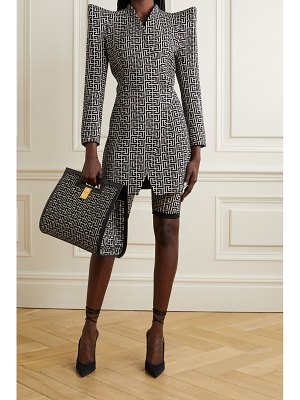 Balmain wool-jacquard wrap-effect mini dress