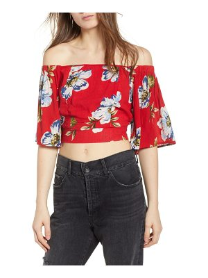 Band of Gypsies blue moon floral off the shoulder crop top