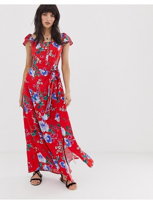 Band of Gypsies button front off shoulder maxi dress in pink floral print
