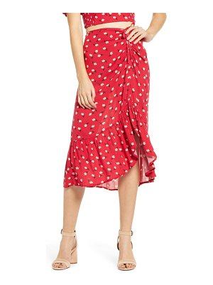 Band of Gypsies floral ruched midi skirt