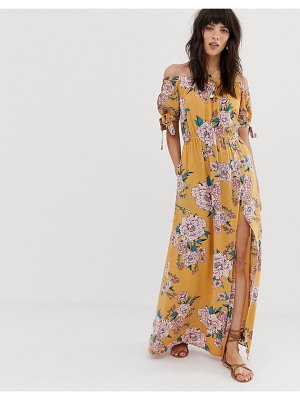 Band of Gypsies off shoulder maxi dress with tie sleeves in yellow floral print