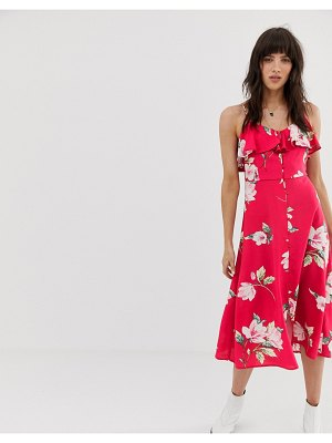 Band of Gypsies ruffle front button down midi dress in pink floral print