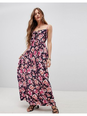 Band of Gypsies tie front maxi dress in floral print-navy