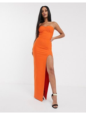 Band of Stars bandage bandeau maxi dress with extreme thigh split in orange