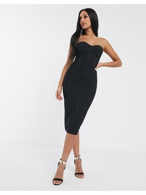 Band of Stars bandage bandeau midi pencil dress in black