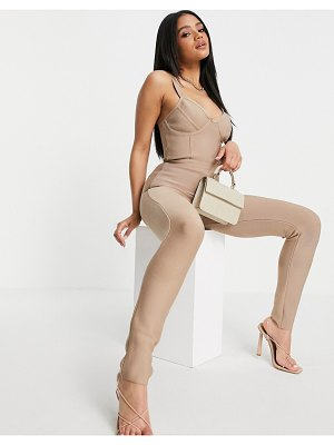 Band of Stars bandage cami strap fitted jumpsuit in taupe-brown
